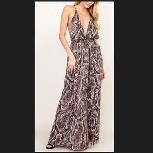 Olivaceous Snake Print Maxi Dress!!!